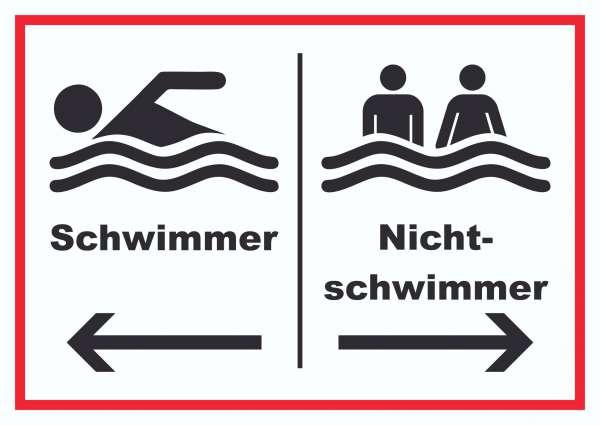 Schwimmer Nichtschwimmer Schild