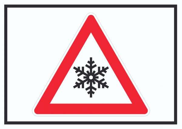 Achtung Frost Schnee Eis Symbol Schild