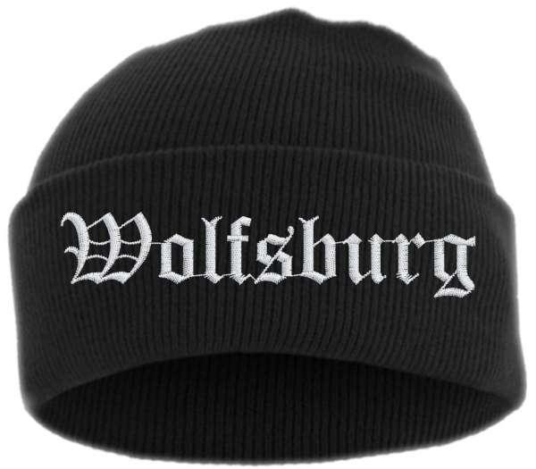 Wolfsburg Umschlagmütze - Altdeutsch - Bestickt - Mütze mit breitem Umschlag