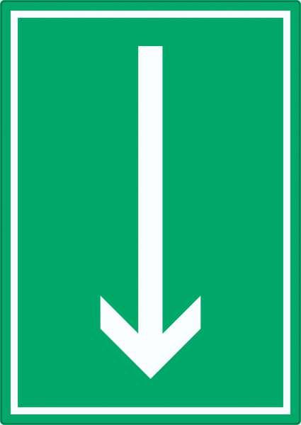 Richtungspfeil runter Aufkleber hochkant weiss grün Pfeil