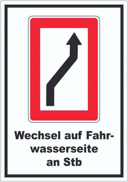 Wechsel auf die Fahrwasserseite Steuerbordseite Symbol und Text Aufkleber