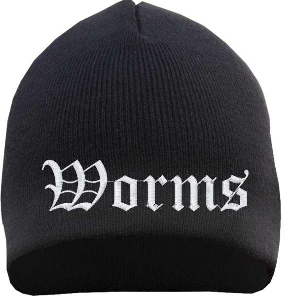 Worms Beanie Mütze - Altdeutsch - Bestickt - Strickmütze Wintermütze