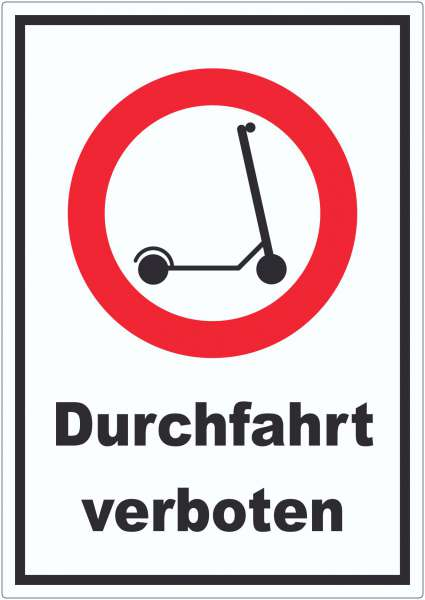 E- Scooter Durchfahrt verboten Aufkleber Elektro -Tretroller Roller