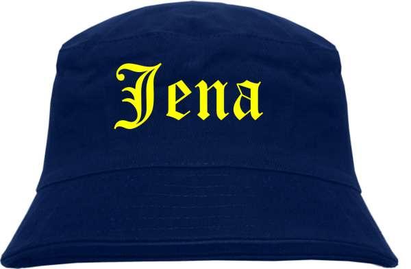 Jena Fischerhut - Dunkelblau - Gelber Druck - Bucket Hat
