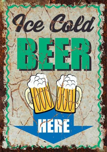 Ice Cold Beer here Deko Schild