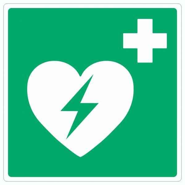 Defibrillator Symbol Aufkleber Quadrat