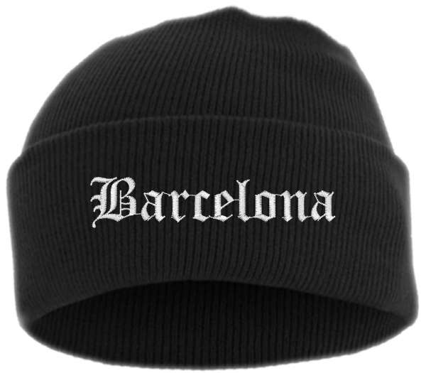 Barcelona Umschlagmütze - Altdeutsch - Bestickt - Mütze mit breitem Umschlag