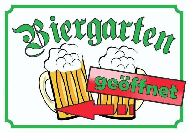 Biergarten geöffnet Schild Pfeil links