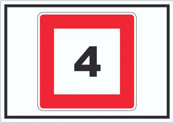 Höchstgeschwindigkeit 4 kmh nicht zu überschreiten Aufkleber mit Symbol
