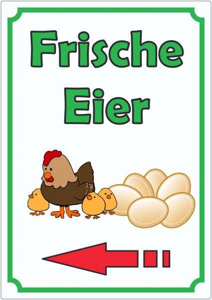 Werbeaufkleber Eier mit Pfeil links Aufkleber Hochkant