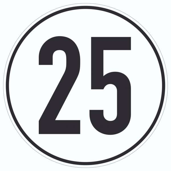 25km/h Geschwindigkeit Aufkleber Kreis