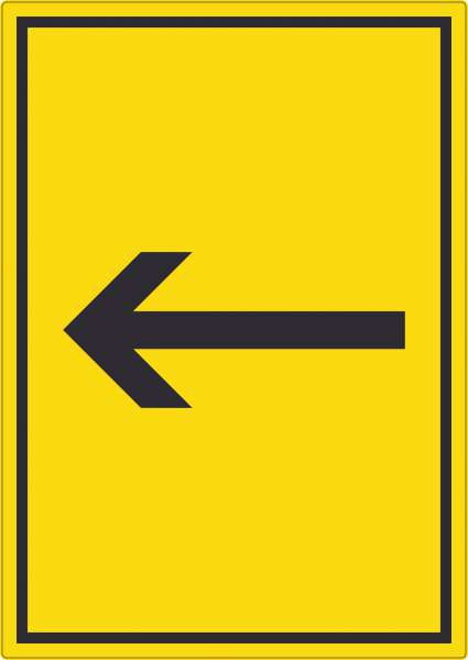 Richtungspfeil links Aufkleber hochkant schwarz gelb Pfeil