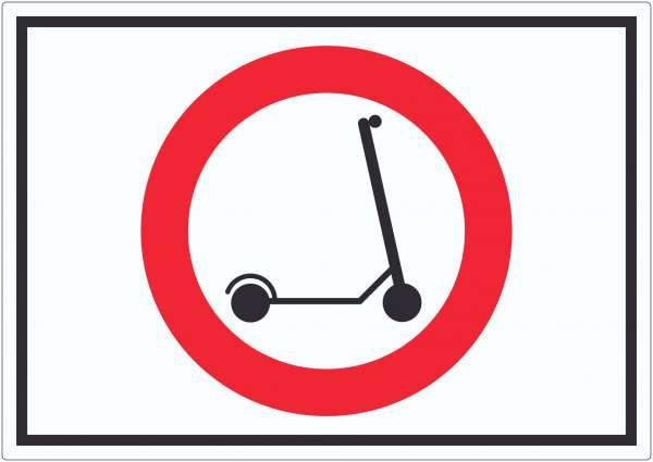 E- Scooter Durchfahrt verboten Symbol Aufkleber Elektro -Tretroller Roller