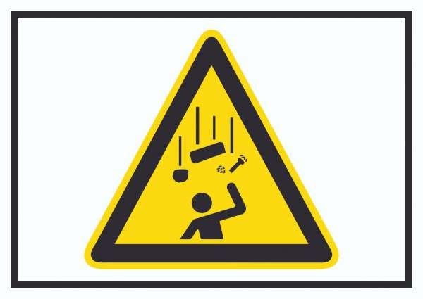 Achtung Herabfallende Gegenstände Symbol Schild