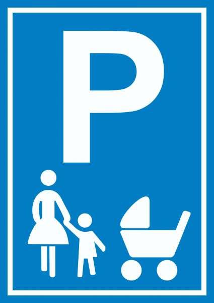 Mutter und Kind Parkplatz Schild Familien Parkplatz