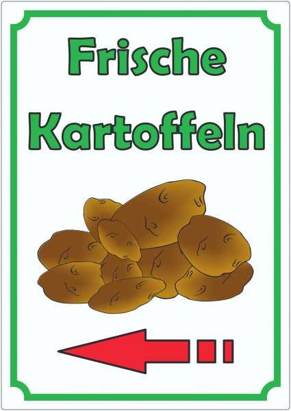 Werbeaufkleber Aufkleber Kartoffeln Hochkant mit Pfeil links