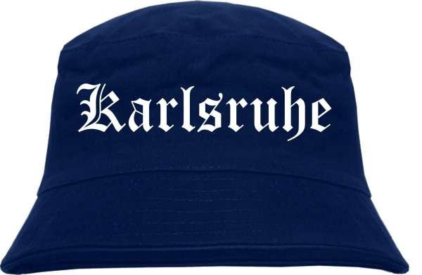 Karlsruhe Fischerhut - Dunkelblau - Altdeutsch - bedruckt - Bucket Hat Anglerhut Hut