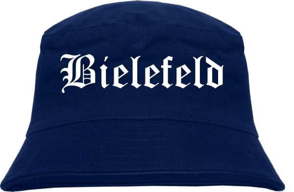 Bielefeld Fischerhut - Dunkelblau - Altdeutsch - bedruckt - Bucket Hat Anglerhut Hut