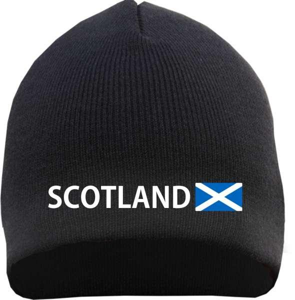 Scotland Beanie Mütze - Altdeutsch - Bestickt - Strickmütze Wintermütze