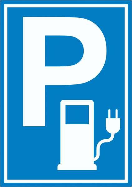 Parkplatz Stromtankstelle Aufkleber Elektrofahrzeug
