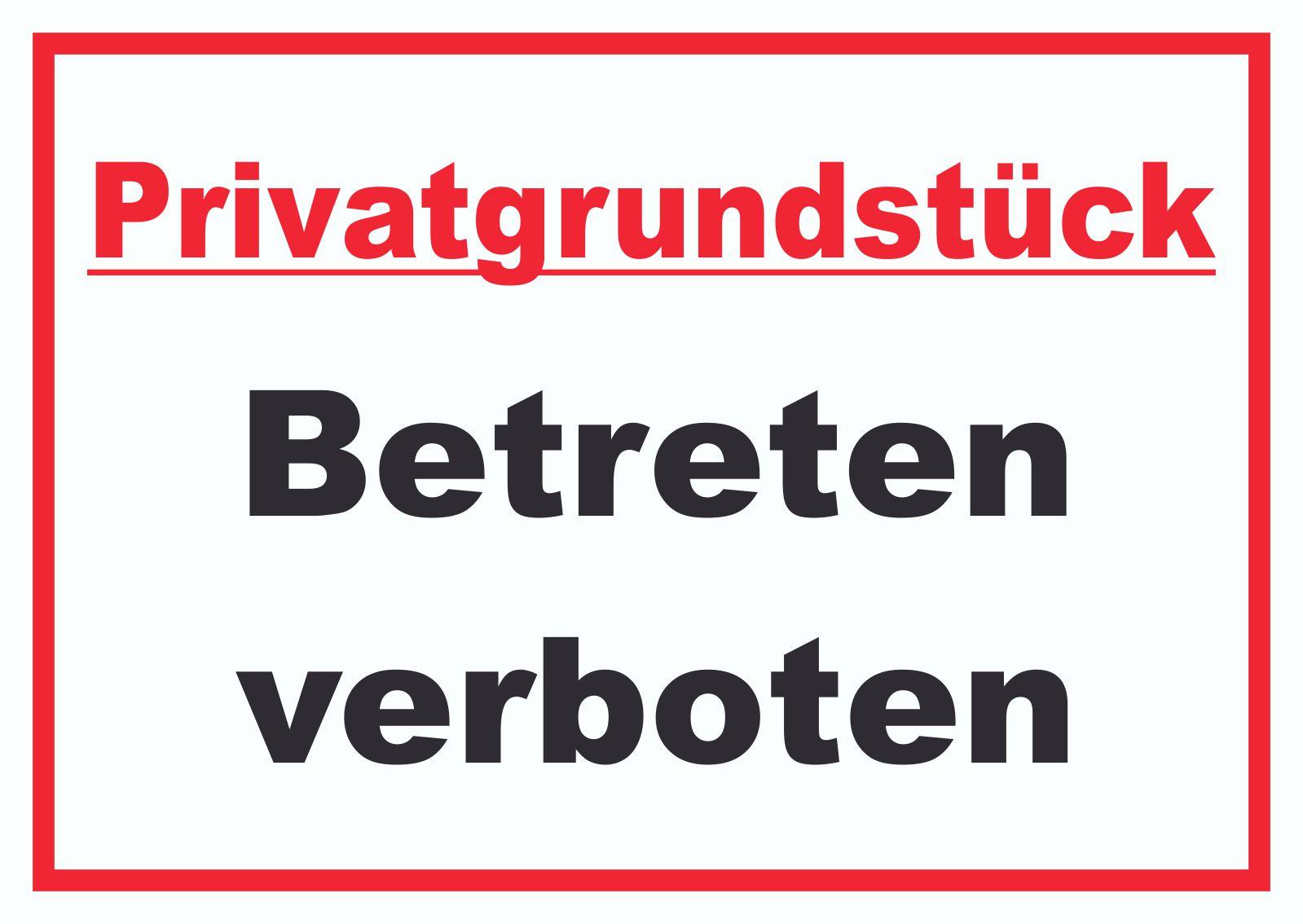 HB-Druck Privatgrundst/ück Betreten Durchfahrt und Parken verboten Schild A0 R/ückseite selbstklebend