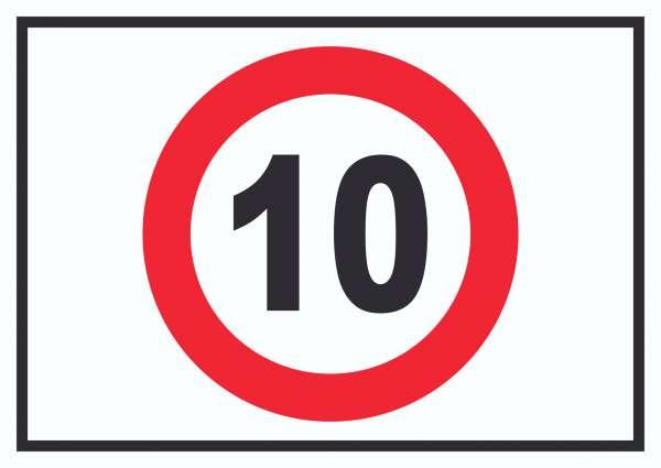 Tempo 10 km/h Geschwindigkeitsbegrenzung Schild Symbol