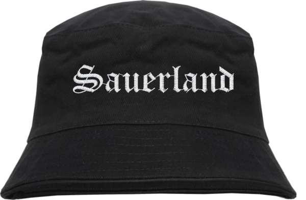 Sauerland Fischerhut - Altdeutsch - bestickt - Bucket Hat Anglerhut Hut