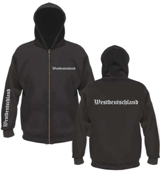 Westdeutschland Kapuzenjacke - altdeutsch bedruckt - Sweatjacke Jacke Hoodie