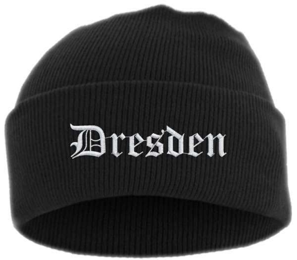 Dresden Umschlagmütze - Altdeutsch - Bestickt - Mütze mit breitem Umschlag