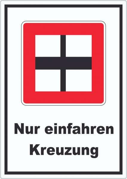Nur einfahren in die Hauptwasserstraße Kreuzung wenn niemand behindert wird Aufkleber mit Symbol und