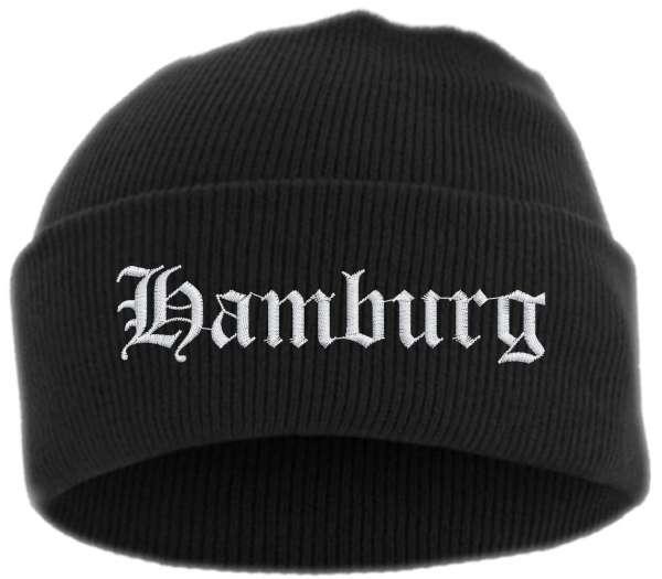 Hamburg Umschlagmütze - Altdeutsch - Bestickt - Mütze mit breitem Umschlag