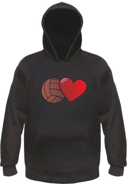 Fussball und Herz Hoodie Kapuzensweatshirt