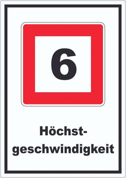 Höchstgeschwindigkeit 6 kmh nicht zu überschreiten Aufkleber mit Symbol und Text