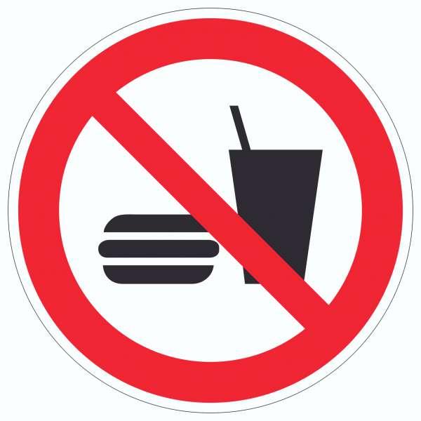Essen und Trinken verboten 2 Symbol Aufkleber Kreis