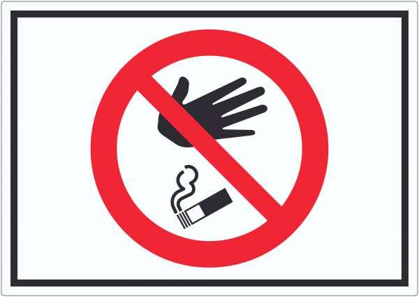 Bitte keine Kippen auf den Boden werfen Symbol Aufkleber