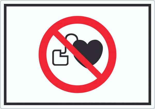 Kein Zutritt für Personen mit Herzschrittmachern oder implantierten Defibrillatoren Symbol Aufkleber