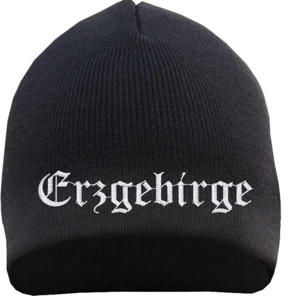 Erzgebirge Beanie Mütze - Altdeutsch - Bestickt - Strickmütze Wintermütze