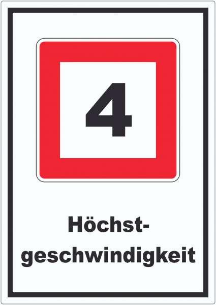 Höchstgeschwindigkeit 4 kmh nicht zu überschreiten Aufkleber mit Symbol und Text