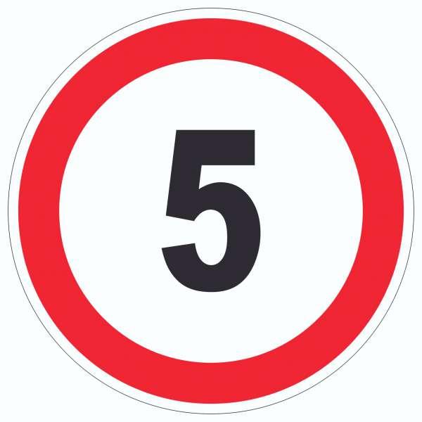 Tempo 5 km/h Geschwindigkeitsbegrenzung Aufkleber Kreis Symbol