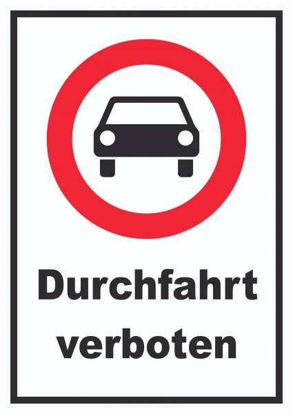 Durchfahrt verboten PKW Symbol Schild