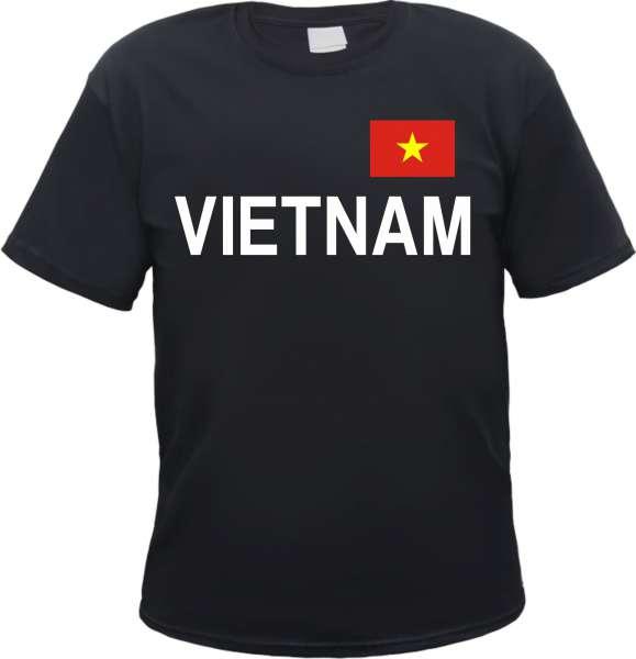 Vietnam Herren T-Shirt - Blockschrift mit Flagge - Tee Shirt