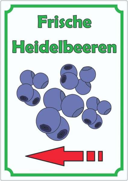 Frische Heidelbeeren Aufkleber Hochkant mit Pfeil links