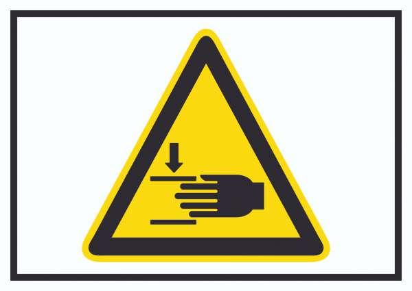 Achtung Handverletzungen Symbol Schild