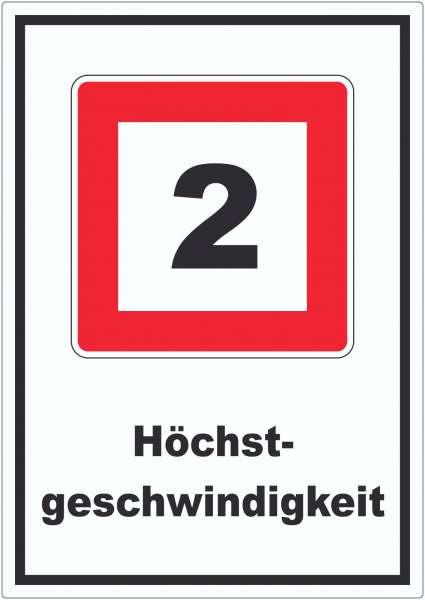 Höchstgeschwindigkeit 2 kmh nicht zu überschreiten Aufkleber mit Symbol und Text