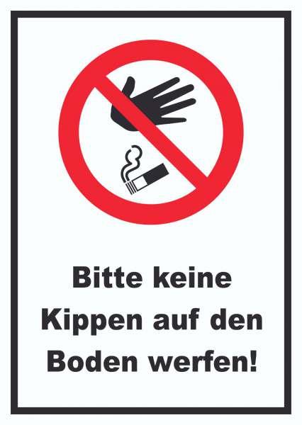 Bitte keine Kippen auf den Boden werfen Schild