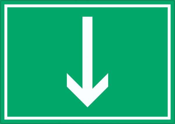 Richtungspfeil runter Aufkleber waagerecht weiss grün Pfeil