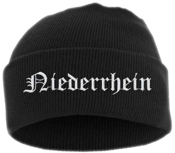 Niederrhein Umschlagmütze - Altdeutsch - Bestickt - Mütze mit breitem Umschlag
