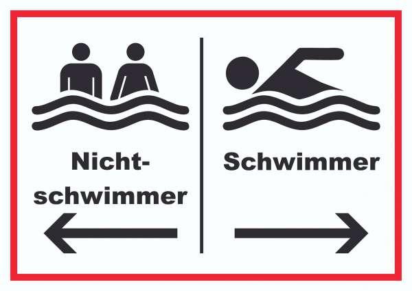 Nichtschwimmer Schwimmer Schild