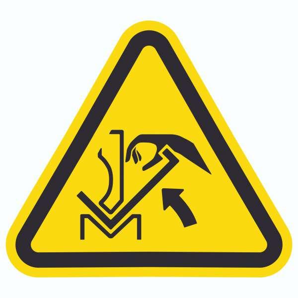 Achtung Quetschgefahr zwischen Presse und Werkstück Symbol Aufkleber Dreieck