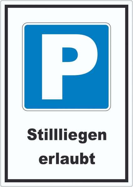 Parkplatz Still liegen erlaubt Symbol und Text Aufkleber